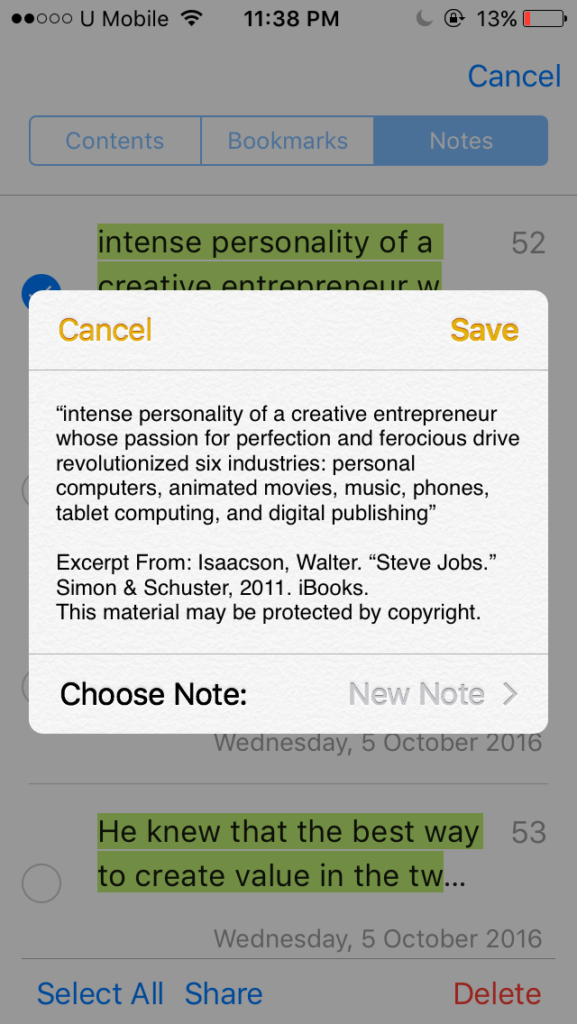 Save Notes and Highlights from iBooks