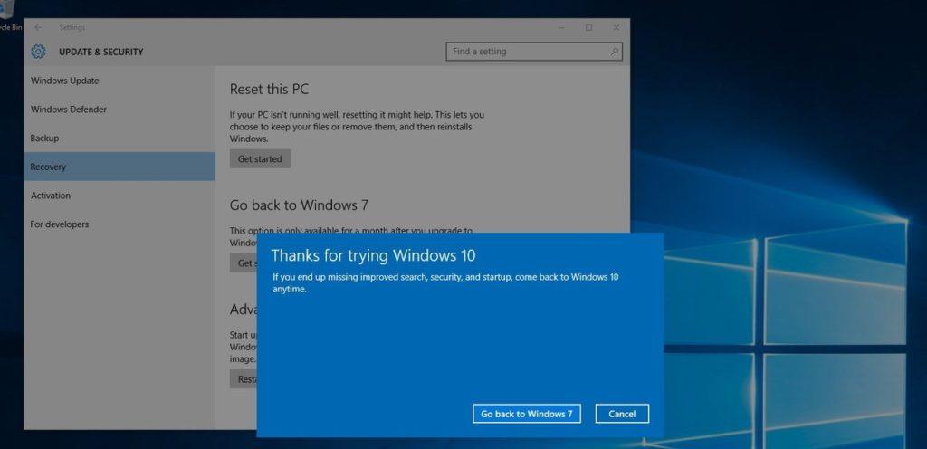 Downgrade from Windows 10
