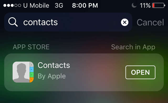How to restore contacts app on iPhone