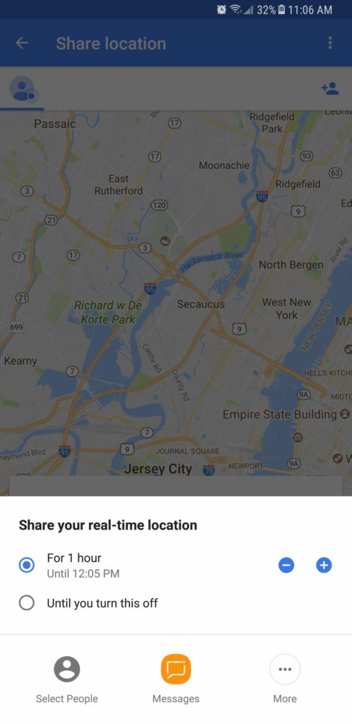Share location on Google Maps