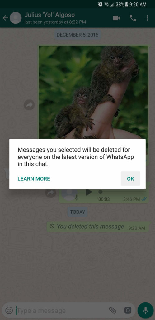 unsend a message on whatsapp