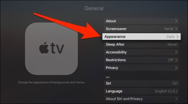enable dark mode on apple tv