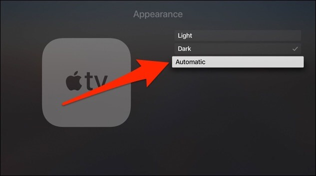 enable dark mode on apple tv