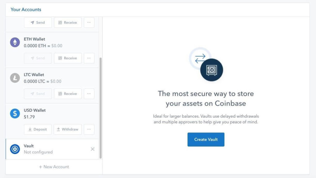transfer into vault on Coinbase