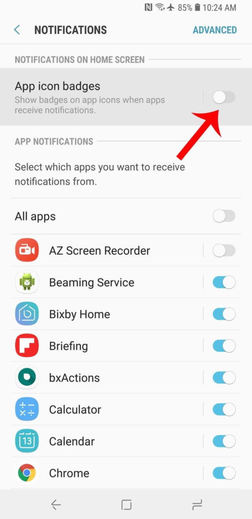 Disable App Notification Badges on Galaxy S9